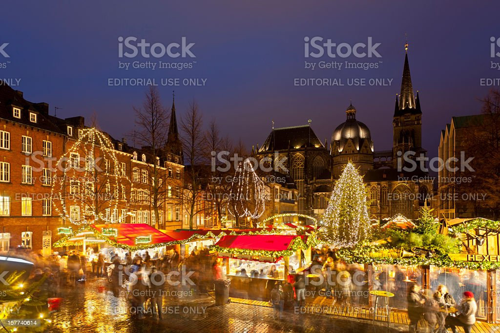 Aachen Christmas Market And Cathedral At Night stock photo
