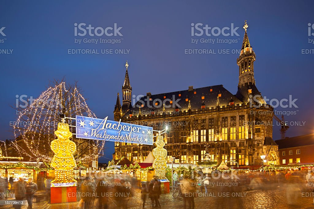 Aachen Christmas Market And Town Hall At Night stock photo