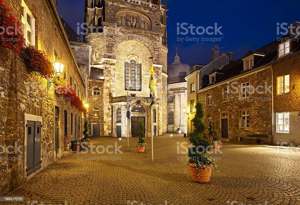 Aachen Domhof At Night stock photo