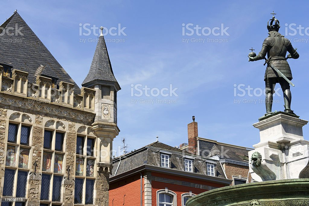 Aachen market square in germany stock photo