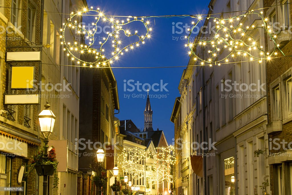aachen old city in the evening stock photo