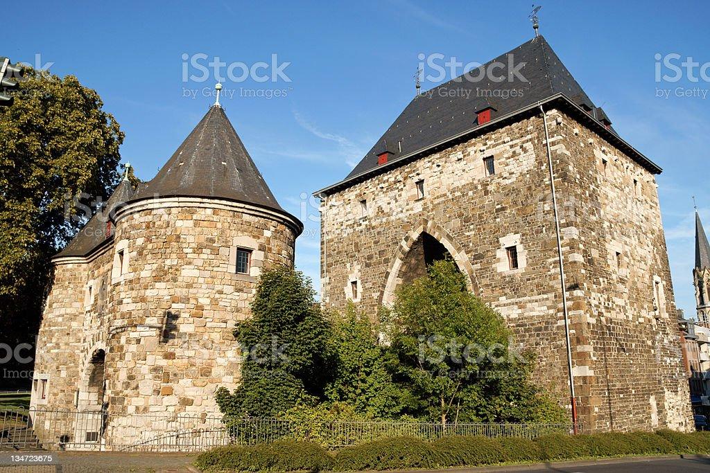 Aachen Ponttor citygate stock photo