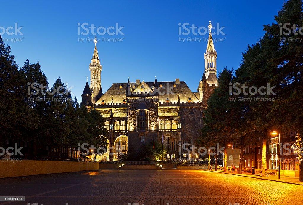 Aachen Town Hall At Night stock photo