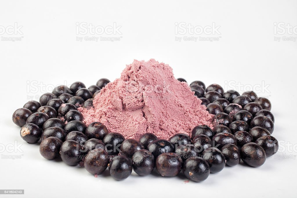 Açai powder medicine stock photo