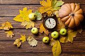 Aalrm clock and pumpkin