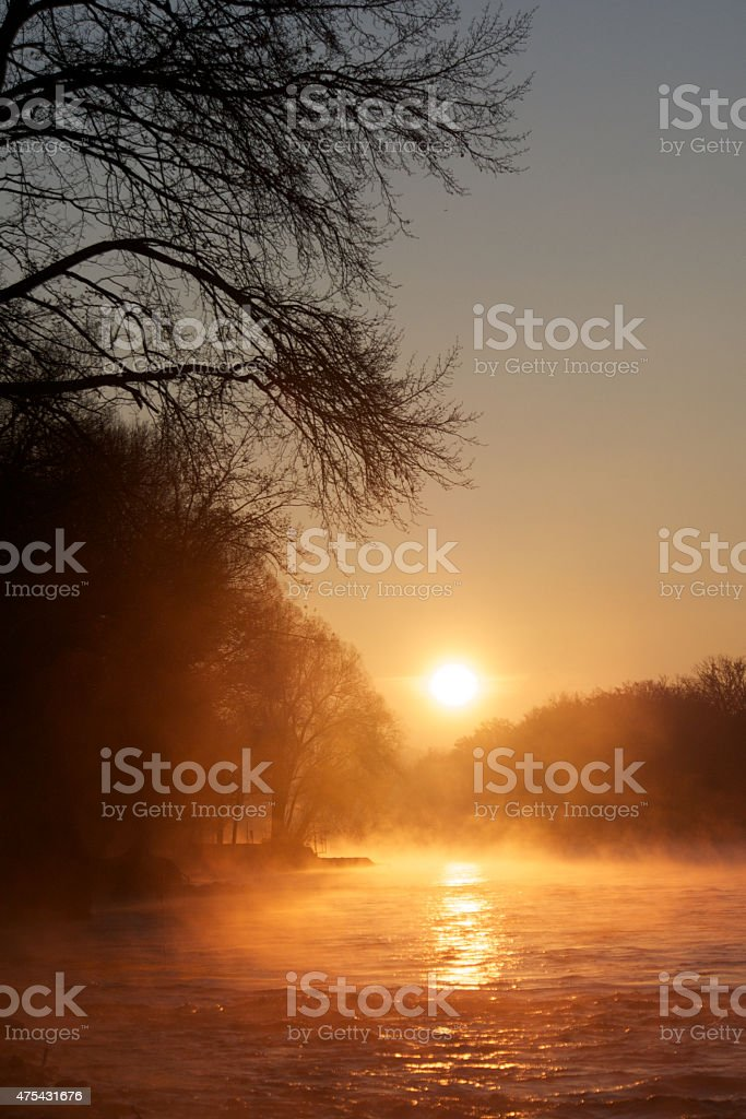 Aare at sunset time stock photo