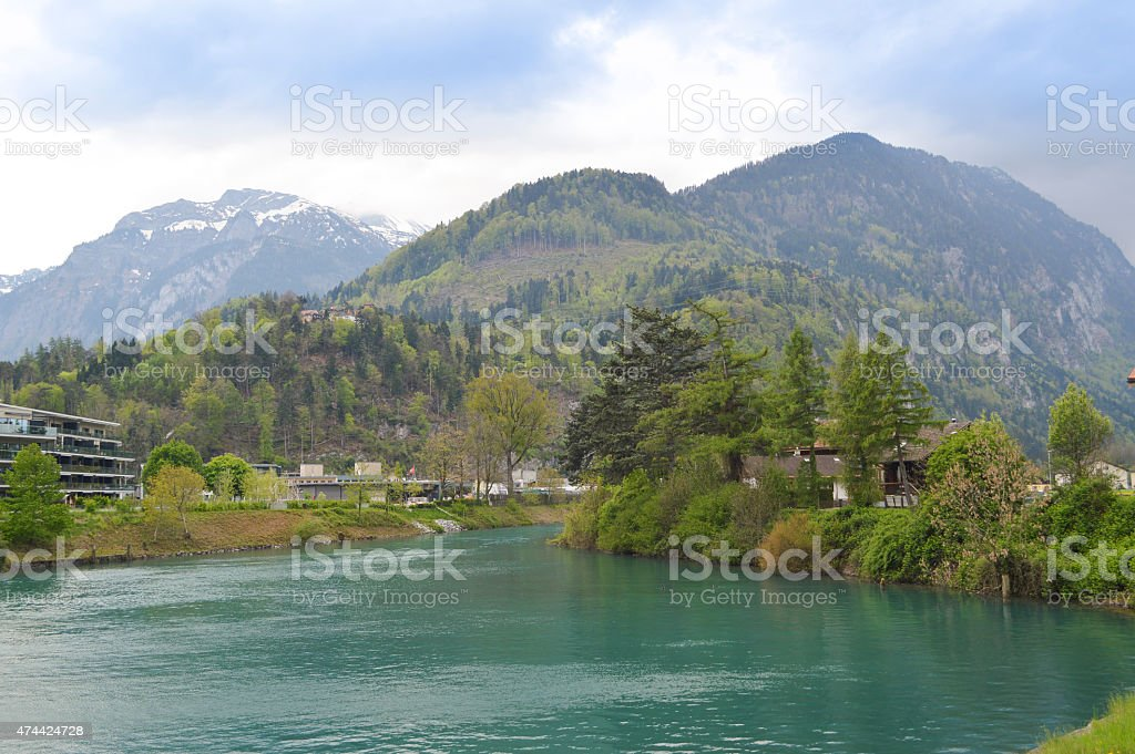 Aare river and Alps in Interlaken stock photo