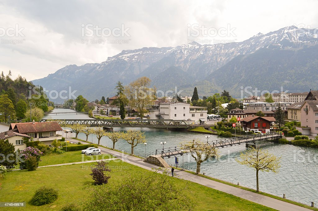 Aare river and Alps in Interlaken, Switzerland stock photo
