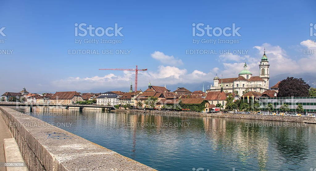 Aare river and St. Ursus cathedral in Solothurn stock photo