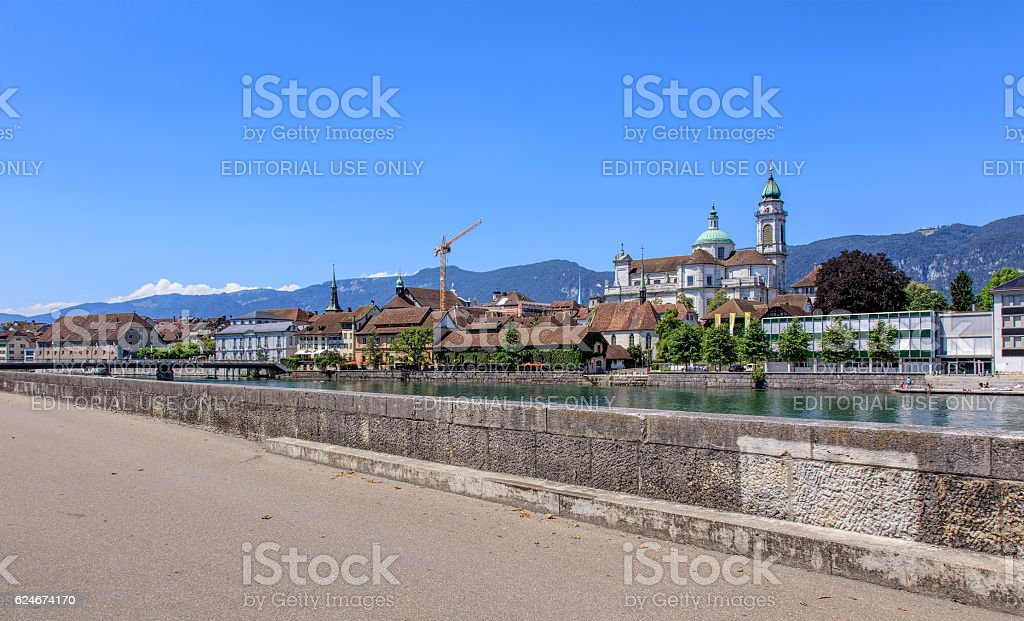 Aare river in the city of Solothurn, Switzerland stock photo
