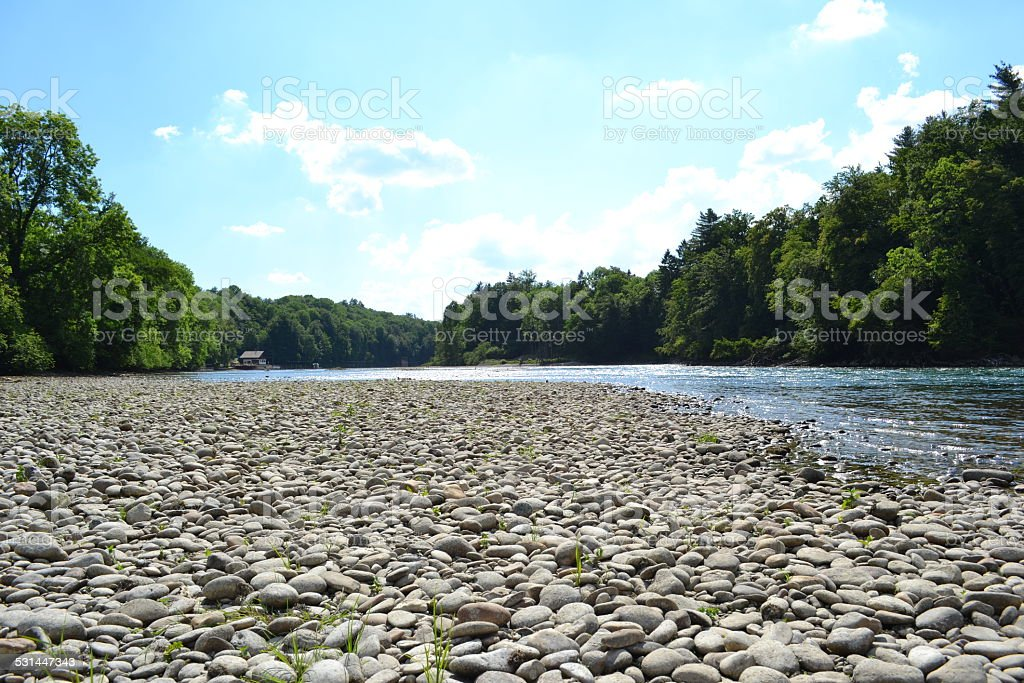 Aare Ufer (swiss river) stock photo