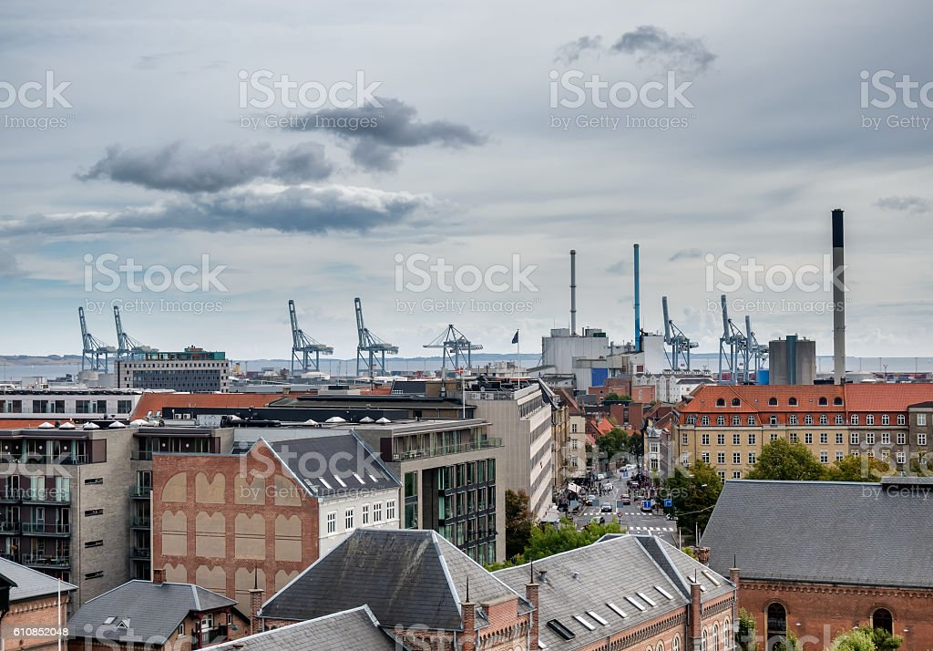 Aarhus skyline with harbor and cranes in Denmark stock photo