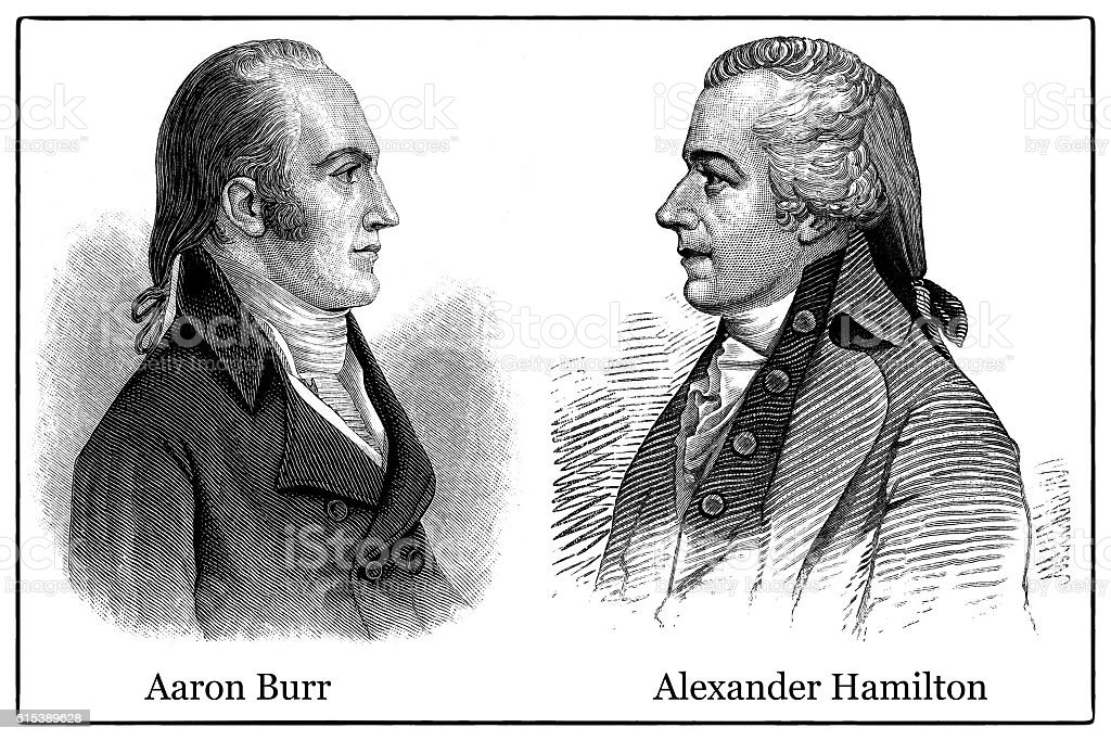 Aaron Burr and Alexander Hamilton stock photo
