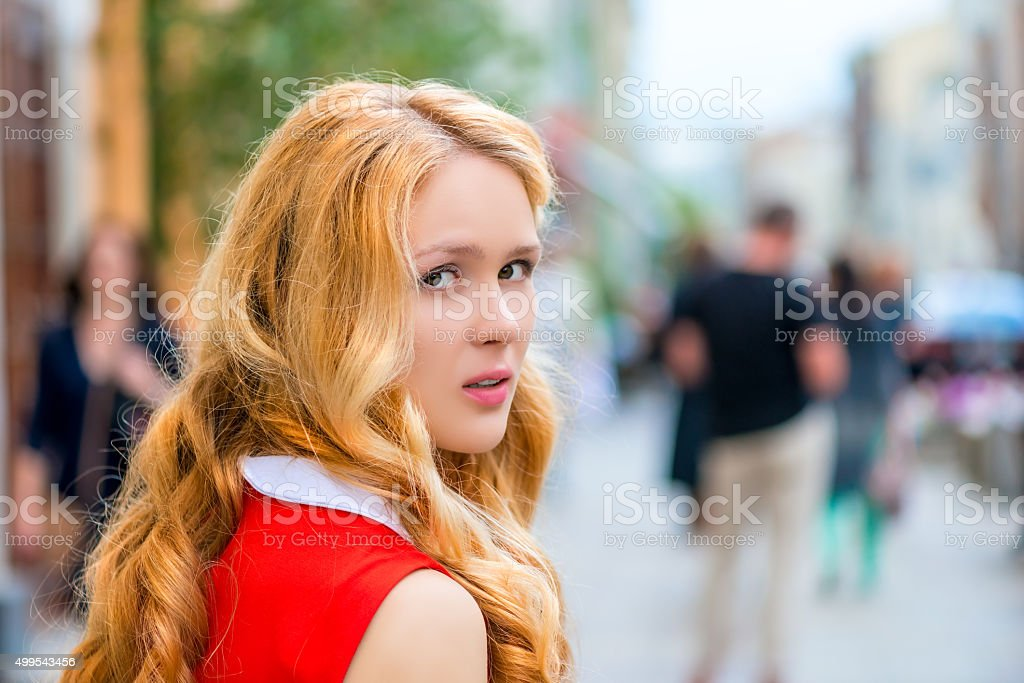 aasual portrait of a beautiful girl stock photo