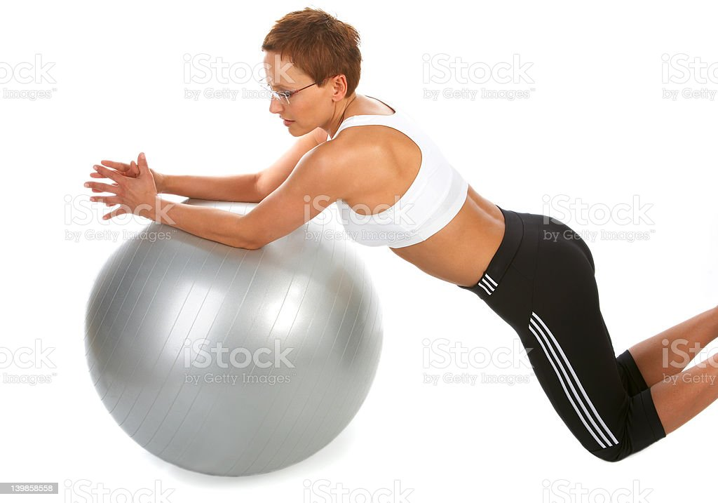 Ab Crunch - Young woman showing different exercises. royalty-free stock photo