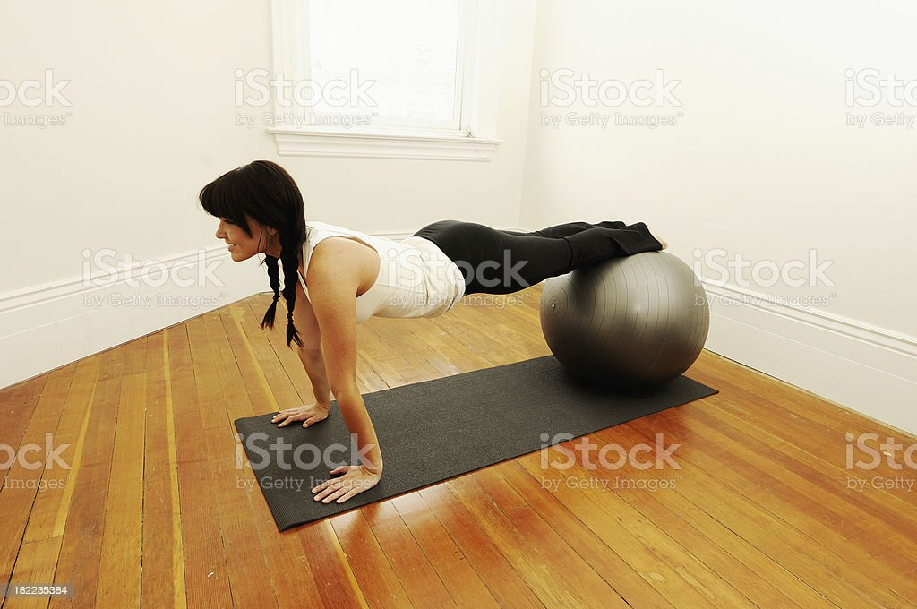 Ab Work on a Fitness Ball royalty-free stock photo