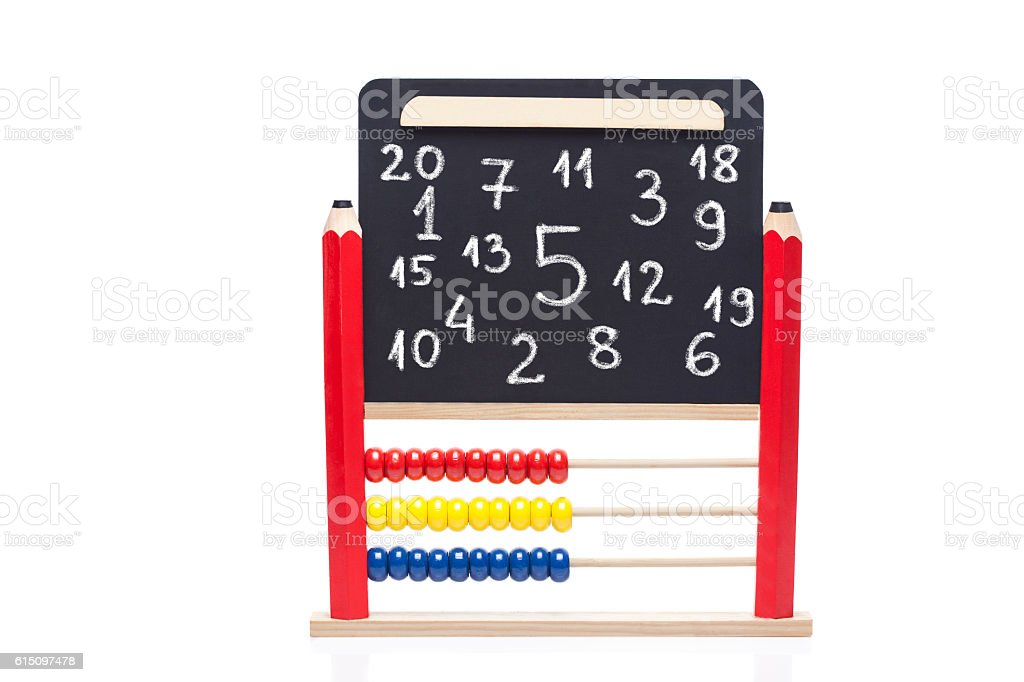 Abacus and black board on white background stock photo