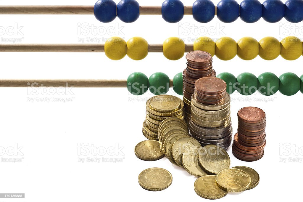 Abacus beads with euro, royalty-free stock photo