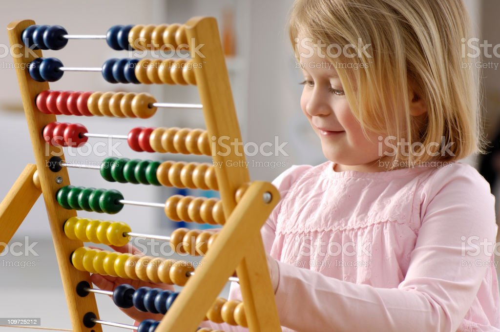 Abacus girl royalty-free stock photo