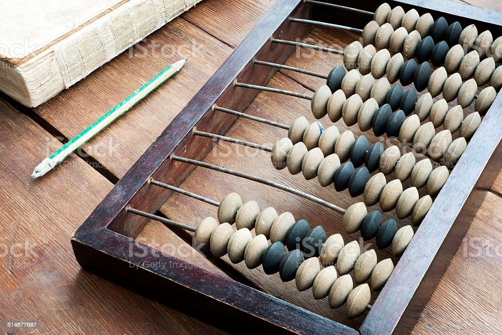 abacus on table stock photo