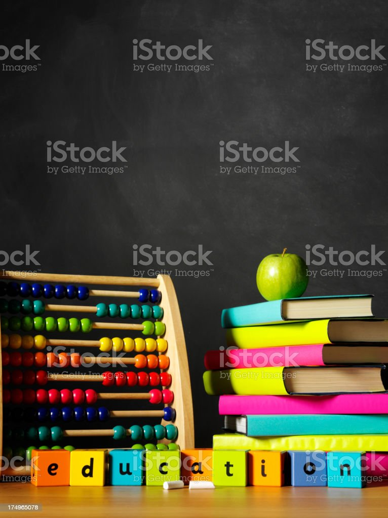 Abacus with Books in the School Classroom royalty-free stock photo