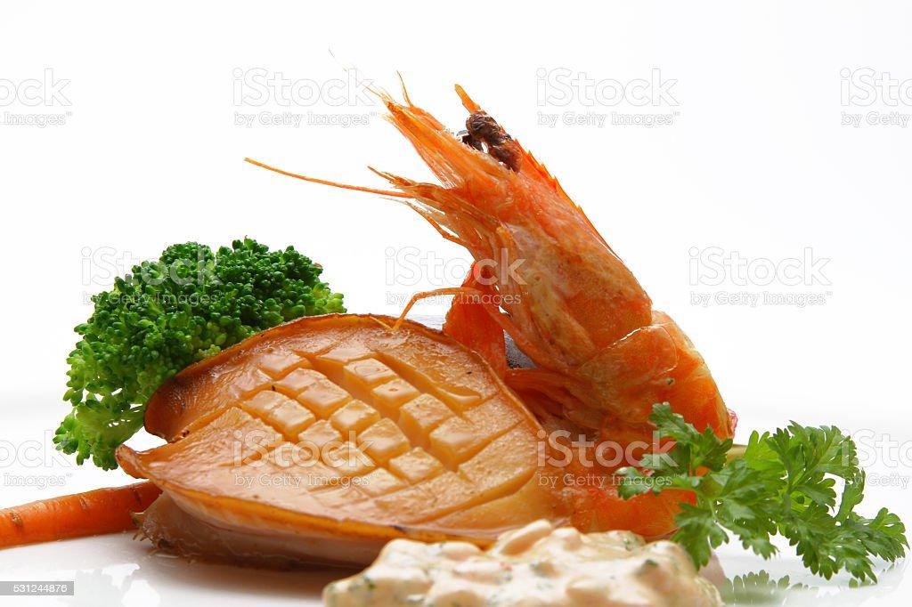 abalone steak & Shrimp stock photo