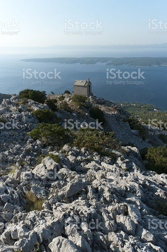 Abandomed chapel at the top of island stock photo