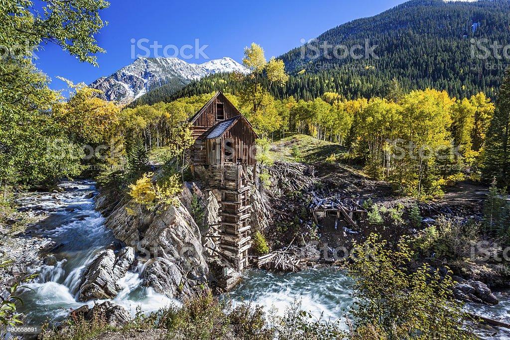 Abandon Crystal Mill in Colorado mountain stock photo