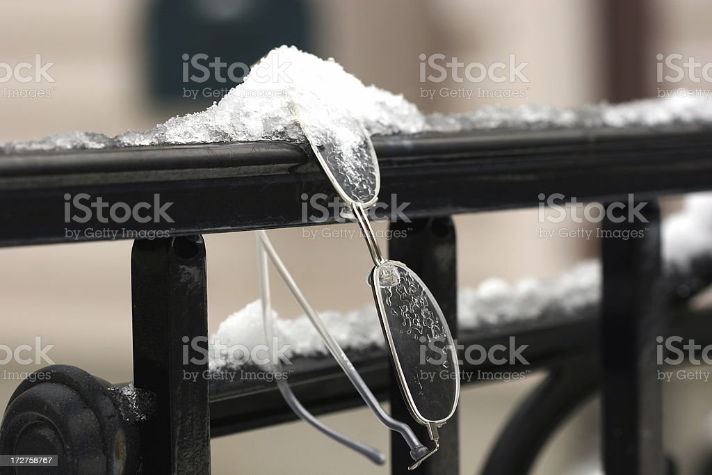 Abandon Glasses on a black railing stock photo