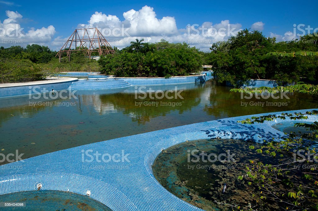Abandon swimming pool and hottubs stock photo