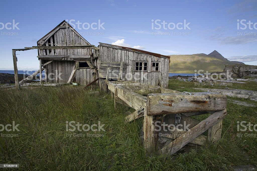 Abandon timber mill in west Iceland royalty-free stock photo