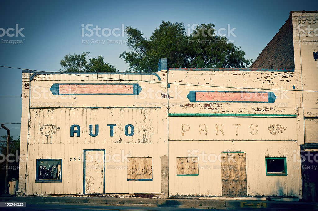 Abandonded Auto Parts Building royalty-free stock photo