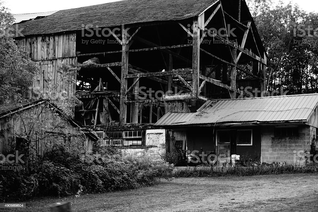 Abandonded Barn Falling Apart stock photo
