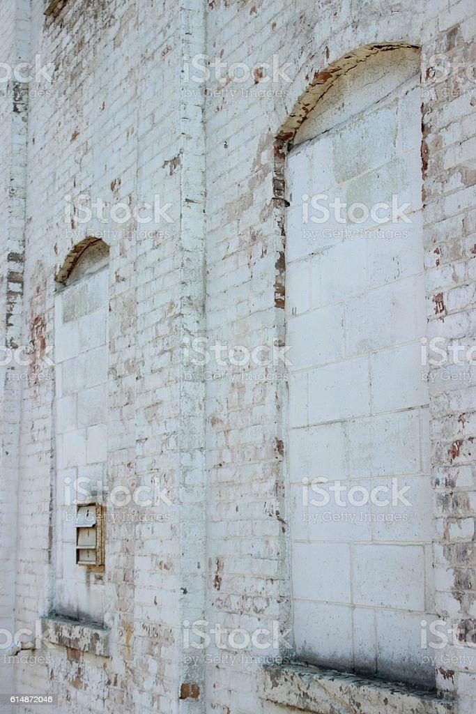 Abandonded Brick Wall stock photo