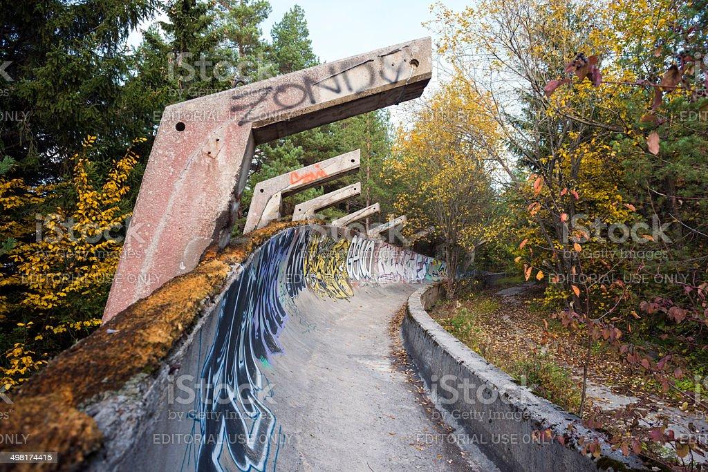 Abandoned 1984 Olympic bobsled track Sarajevo stock photo
