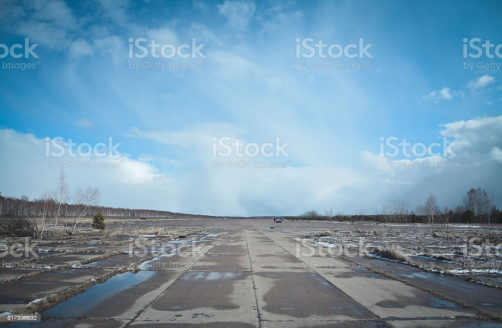 abandoned airfield stock photo