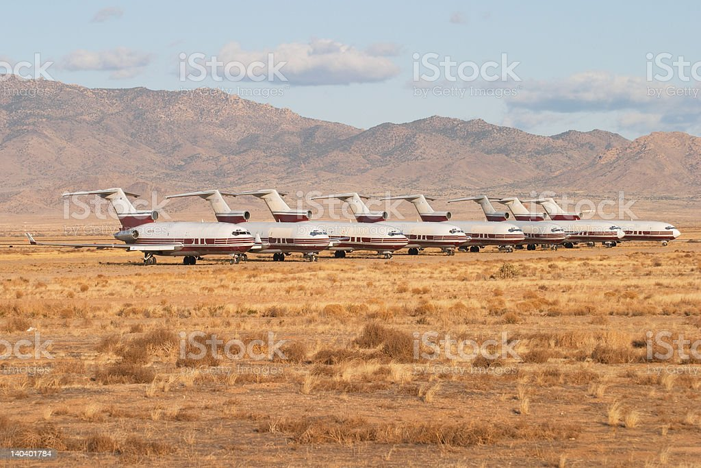 Abandoned airplanes in an aircraft graveyard stock photo