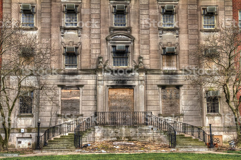 Abandoned and Boarded Up Hospital  HDR royalty-free stock photo