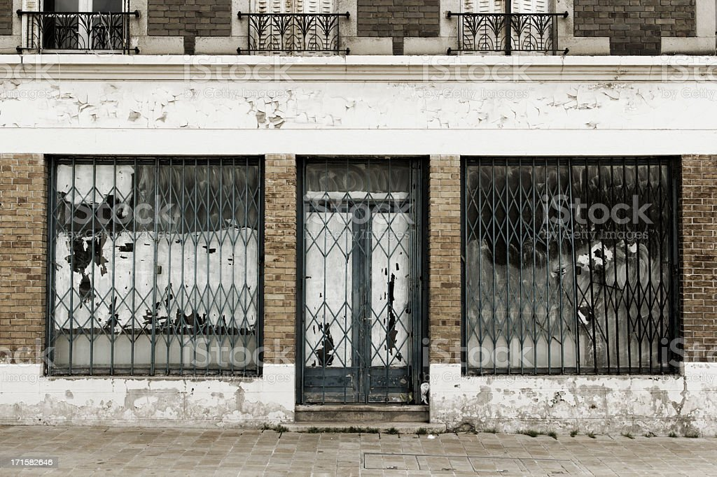 Abandoned and destroyed shop royalty-free stock photo