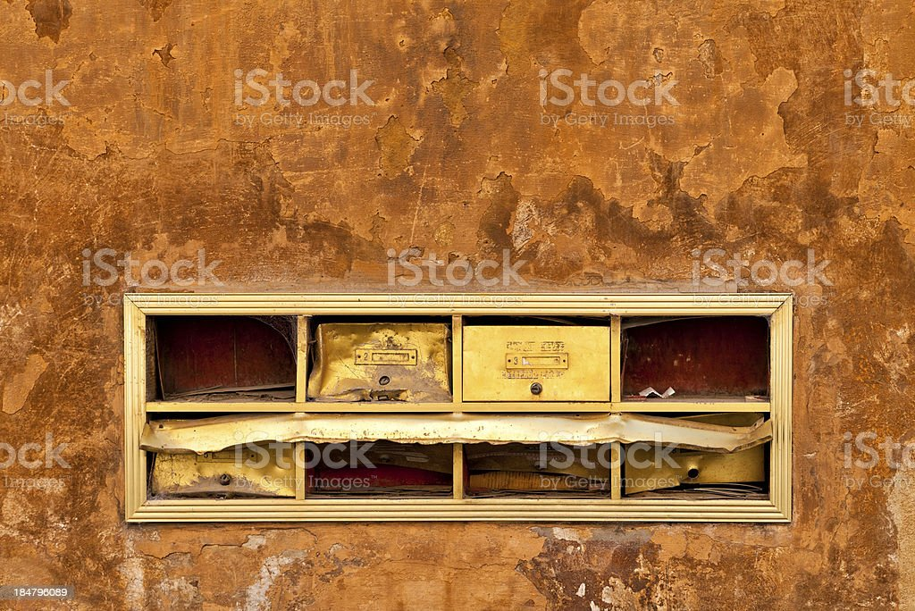 Abandoned and old mailboxes stock photo