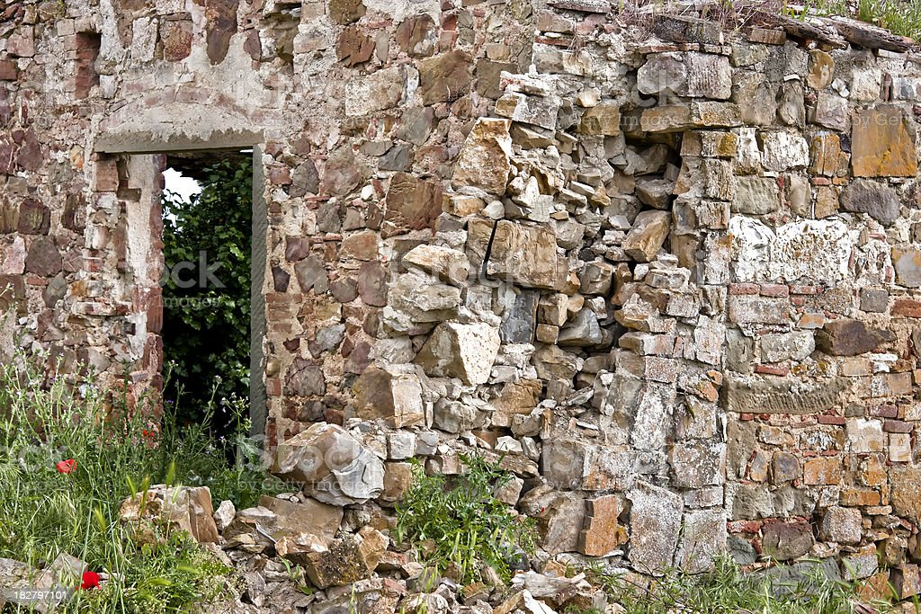 Abandoned and Ruined House of Stone, Chianti Region in Tuscany royalty-free stock photo