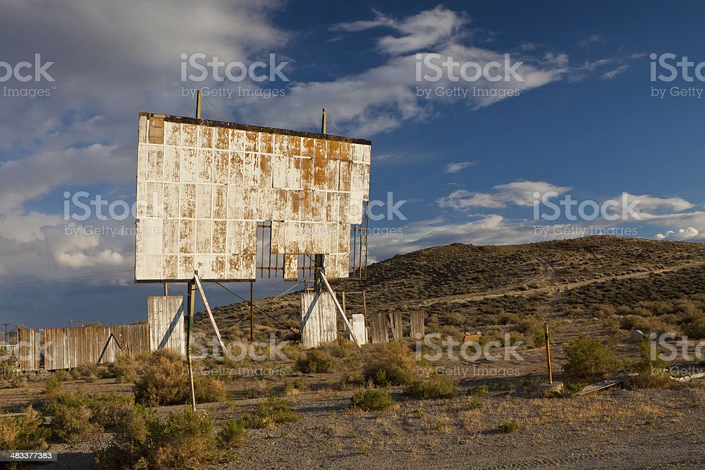 Abandoned and Weathered drive in Theater stock photo
