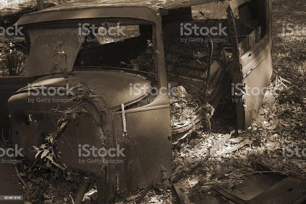 abandoned antique car stock photo