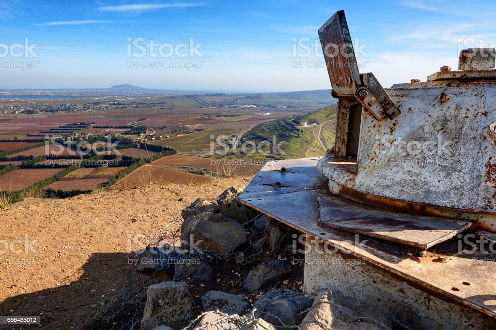 Abandoned Army Outpost at Golan Heights stock photo