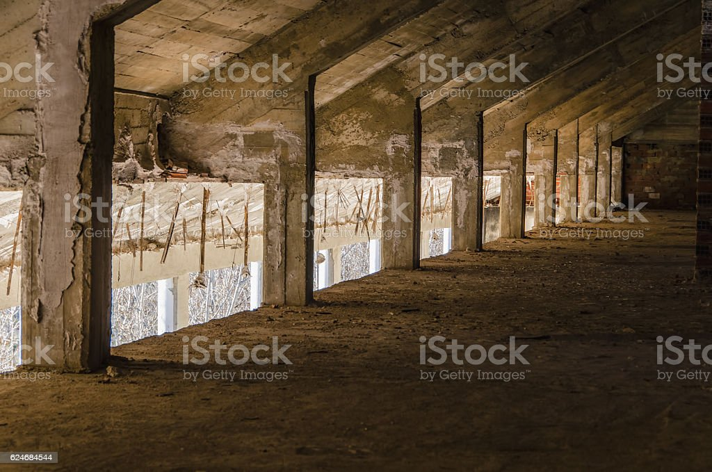Abandoned attic perspective stock photo