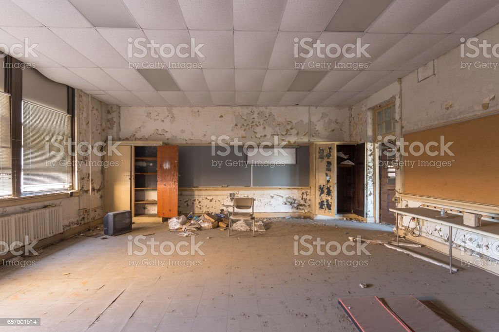 Abandoned auditorium in high school stock photo