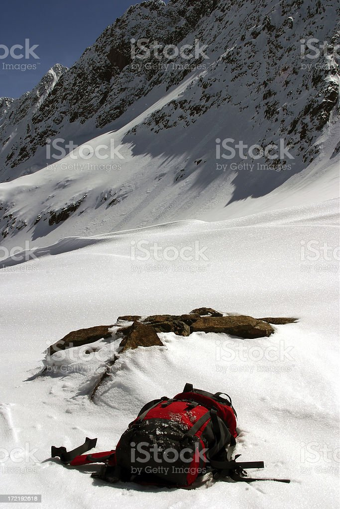 Abandoned backpack. stock photo