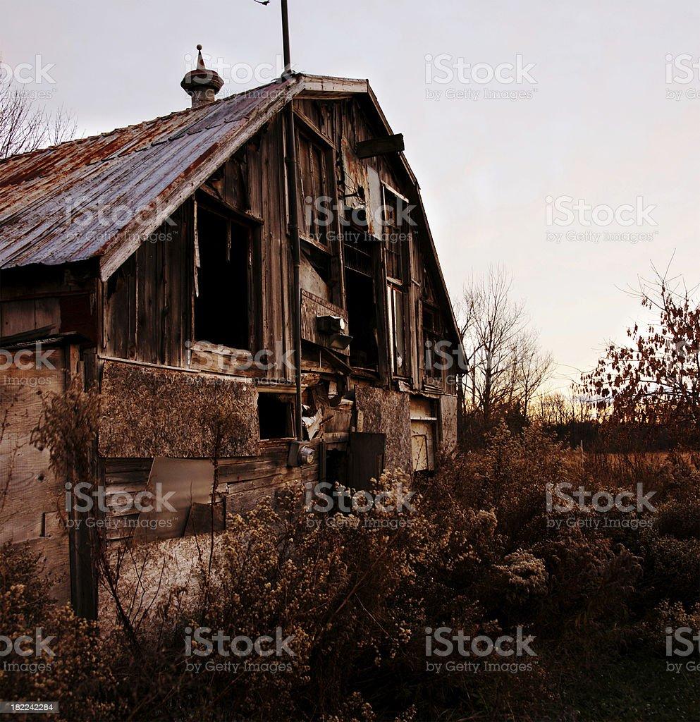 Abandoned Barn at Dawn stock photo