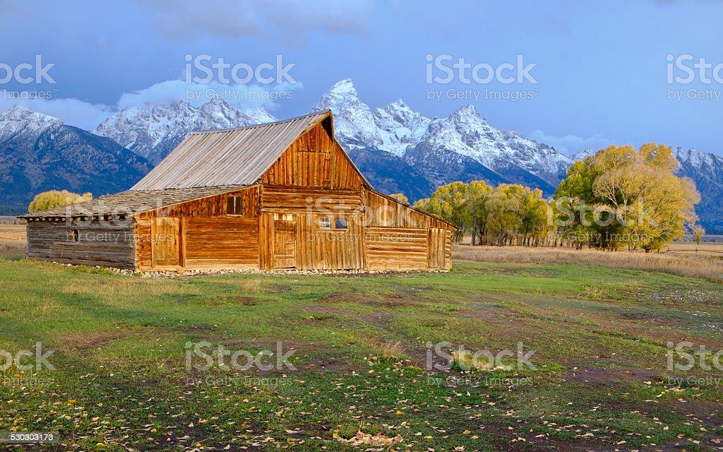 Abandoned barn at Mormon Row in Grand Teton stock photo