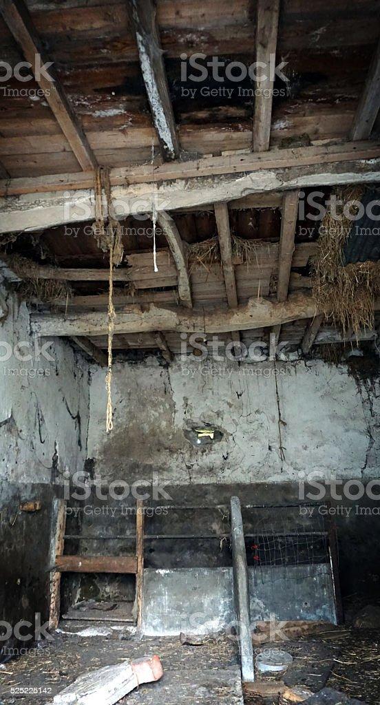 Abandoned Barn Interior stock photo